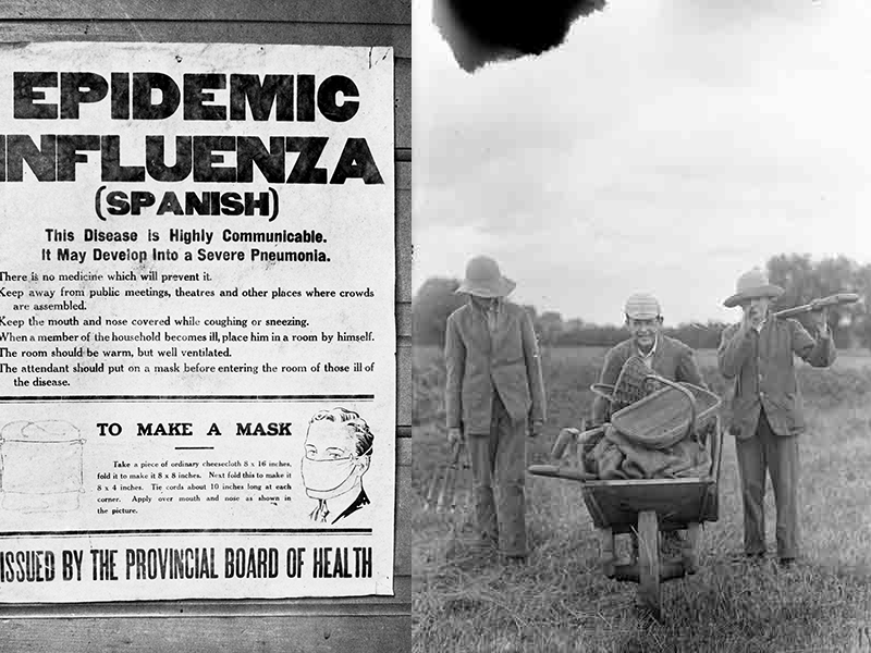 Left: Spanish Flu poster c. 1918. University of Calgary Archives and Special Collections. Right. UK schoolboys at work on an allotment allocated for wartime vegetable production on school playing fields. Horace Nicholls (1918). Imperial War Museum Q30855.