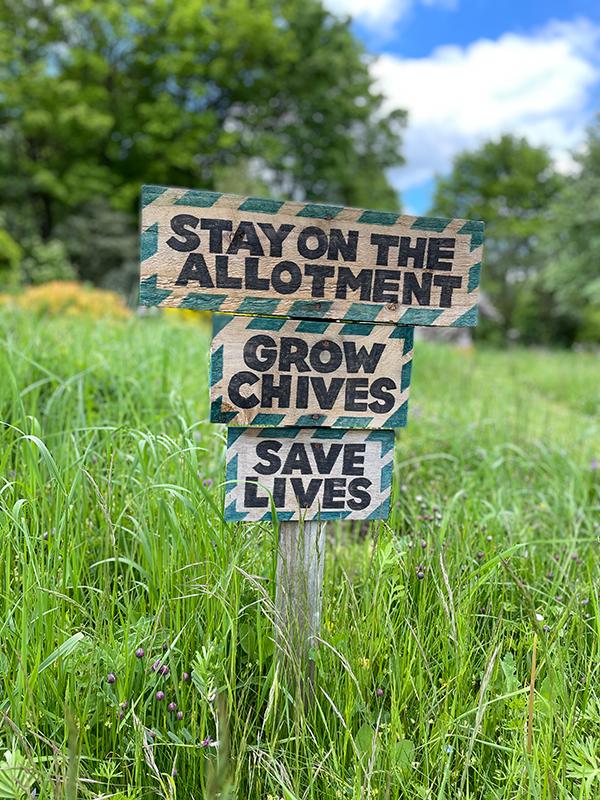 Plot sign on Elder Stubbs Allotment made by Andrew Little, 2021
