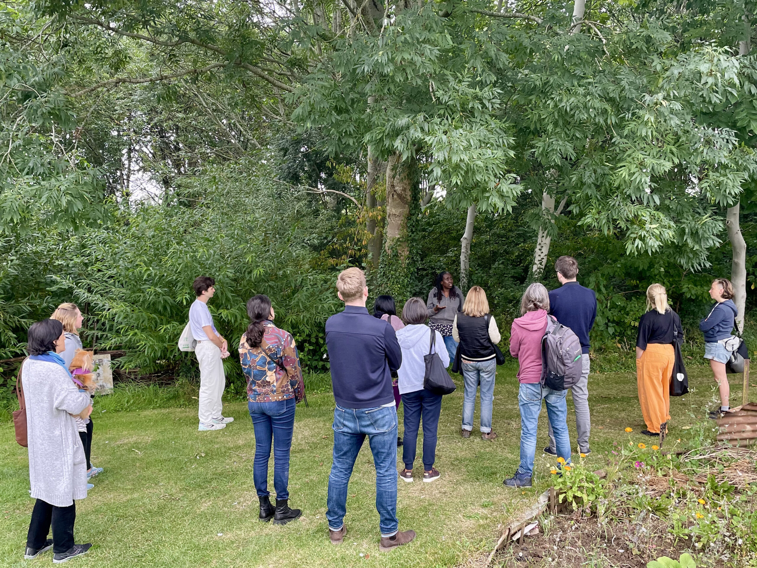 Before the reading and arrival at the 1918 Allotment attendees were given a tour of the site, including a walk through the wood in silence