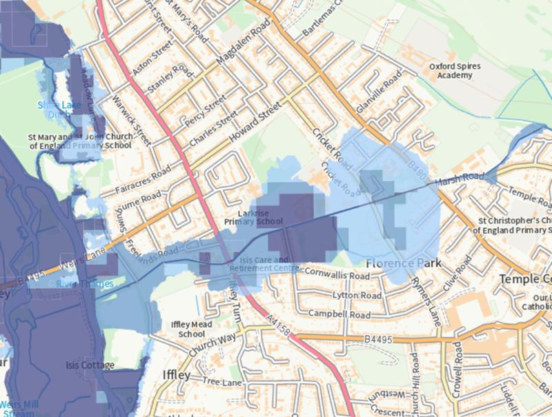 Environment Agency flood risk map, 2021.